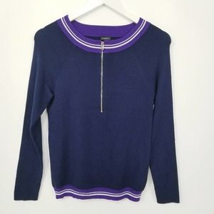La Perla Silk Blend 1/2 zip Crew Neck Sweater